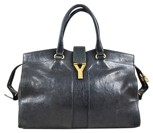 Saint Laurent Yves Gold Tone Leather Cabas Chyc Satchel in Black