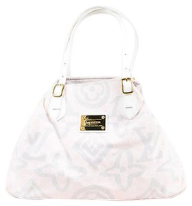 Louis Vuitton Light Pink Canvas Leather Tahitienne Cabas Gm Satchel in Gray