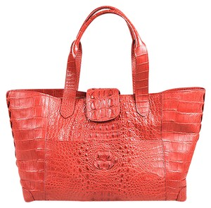 Crocodile Leather Top Tote in Red