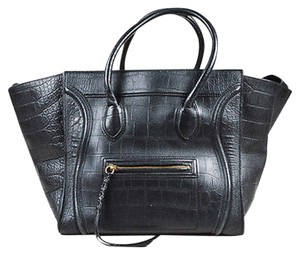 Céline Leather Croc Embossed Phantom Luggage Winged Tote in Black