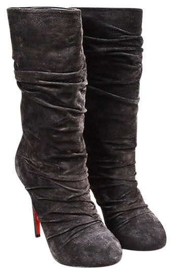 hot sale online f542e 5e839 Christian Louboutin Charcoal Suede Ruched Piros 120 High Heel Boot 38.5