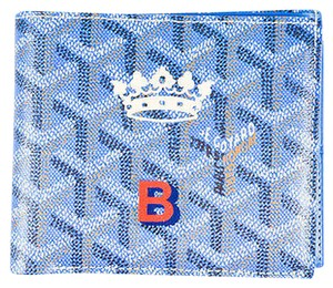 Goyard Goyard Blue Coated Canvas Signature Monogrammed Stripe Bi-fold Compact Wallet