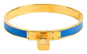 Hermès Hermes Blue Epsom Leather Gold Plated Kelly Cadena Padlock Charm Bangle