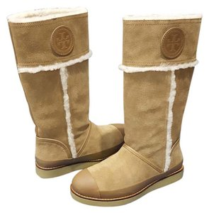 Tory Burch Nadine Mid Shaft Suede Leather Camel Honey Boots