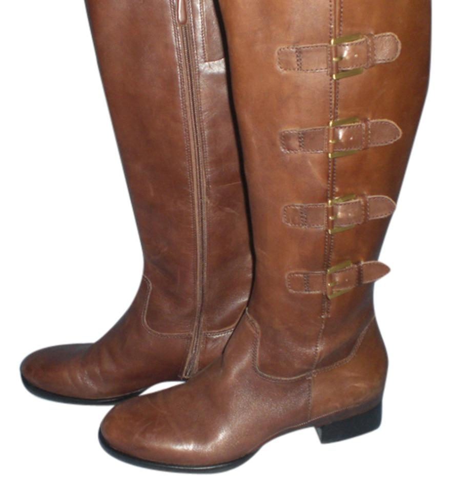 a289ef22fc4 Ecco Brown Four Buckled Mid-calf Dress Leather Boots Booties Size US ...