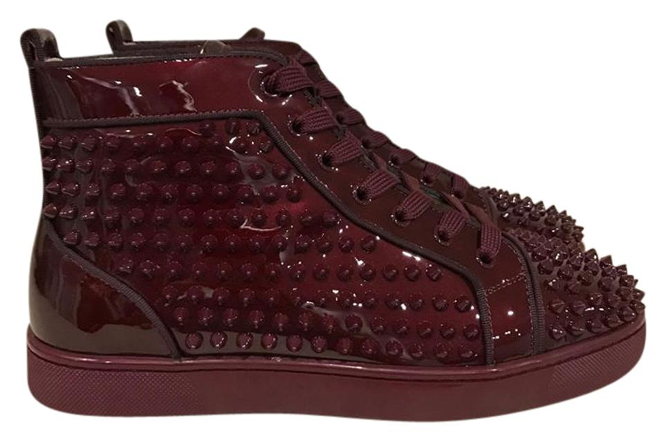 san francisco 2619b eca5d Christian Louboutin Burgundy Louis Orlato Orthodox Spike Patent Flat 40  Sneakers Size US 7 Regular (M, B)