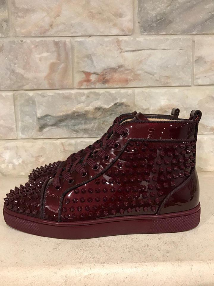 f45ff296f7a Christian Louboutin Burgundy Louis Orlato Orthodox Spike Patent Sneaker  Flat 40 Sneakers Size US 7 Regular (M