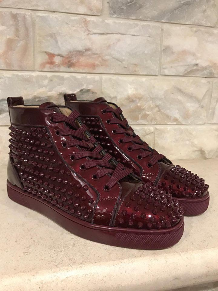 19fc643e552 Christian Louboutin Burgundy Louis Orlato Orthodox Spike Patent Sneaker  Flat 40 Sneakers Size US 7 Regular (M
