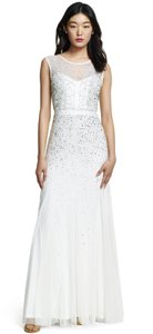 Adrianna Papell Long Beaded Gown With Illusion Neck Wedding Dress