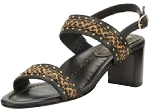 Eric Javits Leather Strappy Straw Slingback Antique/ Black Sandals