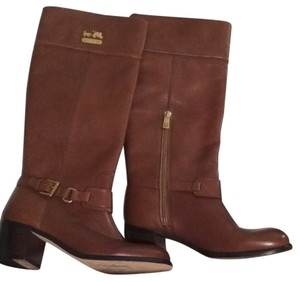 Coach Riding Top Grain Leather Brown Boots