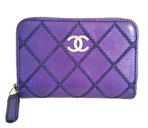 Chanel Zip Around Coin Purse in purple
