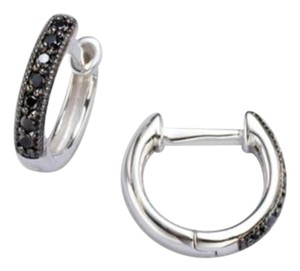 Jude Frances Jude Frances 18K White Gold Black Diamond Accented Huggie Hoop Earring