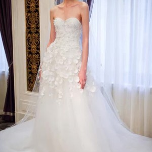 A-line Strapless Wedding Gown With Floral Detail Wedding Dress