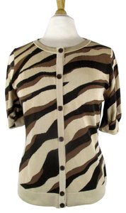 Lafayette 148 New York Cotton Nude Abstract Cardigan