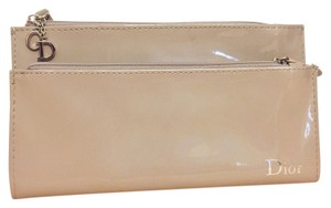 Dior Dior fold over snap button beige clutch envelope wallet cosmetic bag