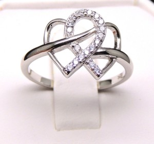 ** NWT ** INFINITY HEARTS STERLING SILVER ( SZ. 8 ) RING