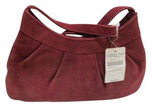 Coldwater Creek Suede Petite Pleated Satchel in bayberry