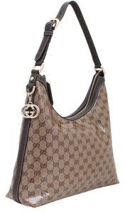 Gucci Logo Monogram Hobo Silver Hardware Shoulder Bag