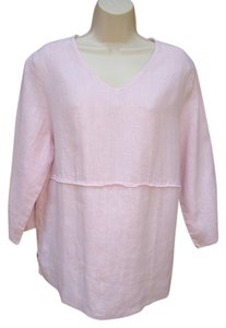 Hot Cotton Linen Tunic Top Pink