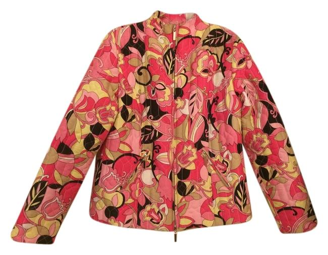 Carole Little Silk Quilted Lined Zip Closure Pink Tan Yellow Jacket