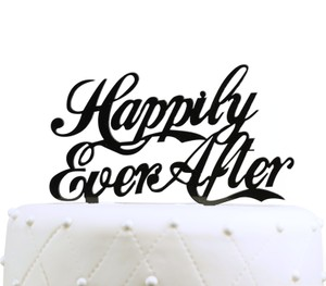 Unik Occasions Happily Ever After Acrylic Cake Topper - Black
