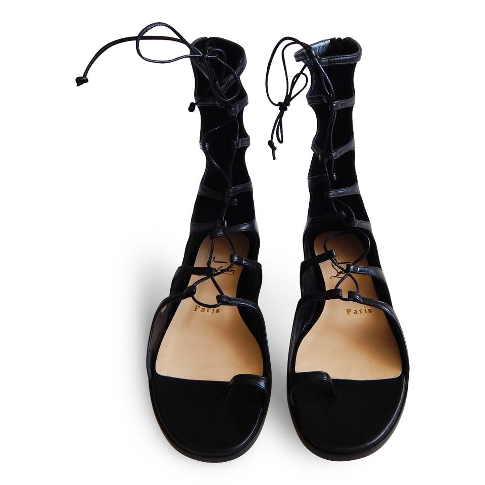 180ccbe5bf91 Christian Louboutin Leather Strappy Flat Ankle Strap Black Sandals Image 8.  123456789