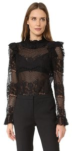 BCBGMAXAZRIA Top Black Lace