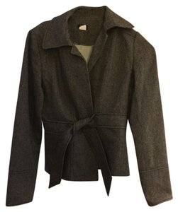 J.Crew Brown/Grey Herringbone Wool tie-front jacket