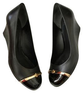 Tory Burch Black & Gold Wedges