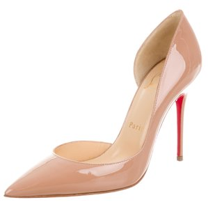 Christian Louboutin Patent Leather Pointed Toe Pigalle So Kate Iriza Beige Pumps