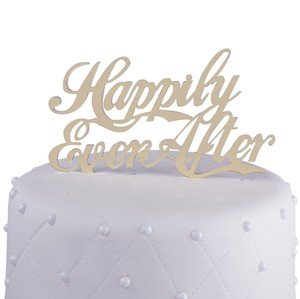Unik Occasions Happily Ever After Acrylic Cake Topper, Gold Mirror