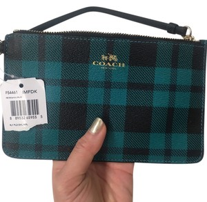 Coach Plaid Wallet Leather Wristlet in Green