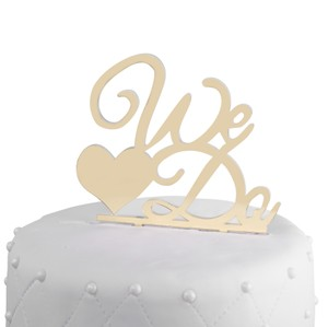 Unik Occasions We Do Acrylic Cake Topper Gold Mirror