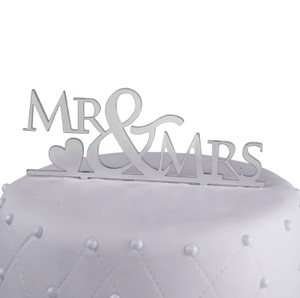 Unik Occasions Mr. & Mrs. Block Acrylic Cake Topper Silver Mirror