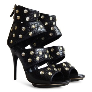 Giuseppe Zanotti Crystal Leather Open Toe Cut-out Black Sandals