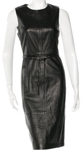 Vince Sleeveless Leather Belted Dress