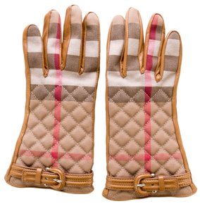Burberry Black, beige, red Burberry Nova check plaid leather woven gloves