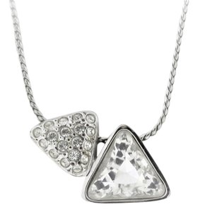 Geometric Swarovski Crystal And CZ Diamond Necklace- Stainless Steel