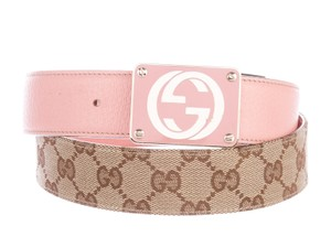 Gucci Pink, brown multicolor leather-trimmed Gucci lgo belt L