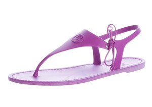 Gucci Gg Gold Hardware Ankle Strap Katina Purple Sandals
