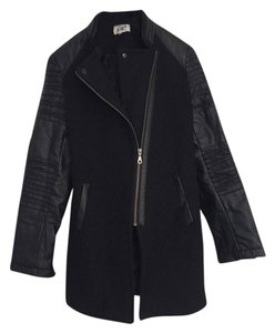 Jolt Faux Leather Pea Coat