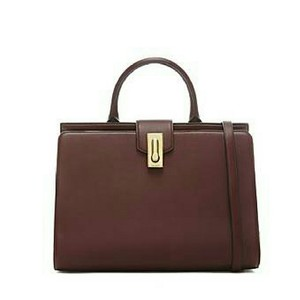 Marc Jacobs Leather Tote Luxurious Satchel in Rubio (dark plum/ reddish brown/ deep red)