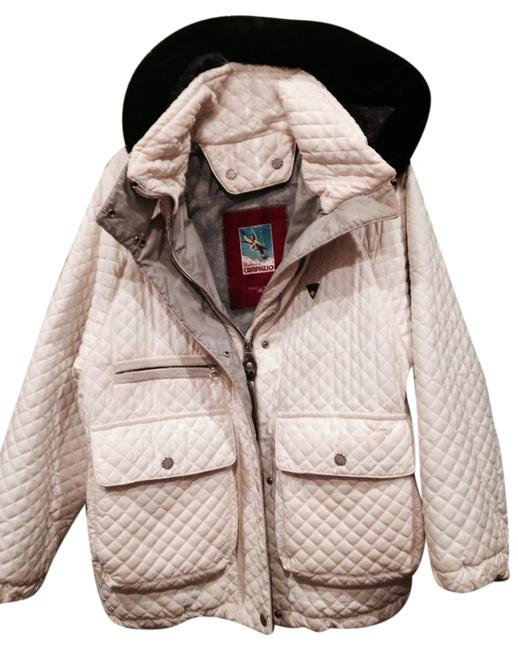 Post Card Down Quilted Lined Six Fur Collar white Jacket