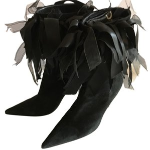 Andrea Suede Embellished Fashion Black Boots