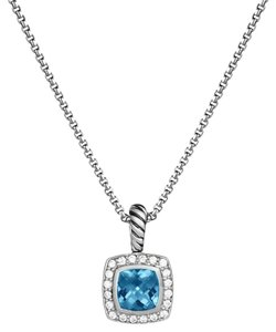 David Yurman Petite Albion Pendant Necklace with Hampton Blue Topaz and Diamonds