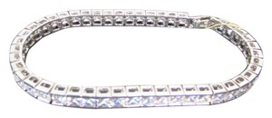 CRISLU Sterling Silver and Cubic Zirconia Classic Princess Bracelet