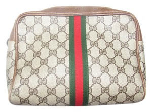 Gucci Great Everyday Cosmetic /clutch Great For Travel Zip Top Closure Mint Vintage brown leather/large G logo print coated canvas & red/green stripe Clutch
