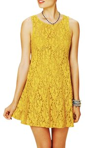 Free People short dress Yellow Lace Sleeveless Fit And Flare on Tradesy