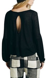 Free People Cutout Bohemian Festival Pullover Layering Long Sleeve Banded T Shirt Black